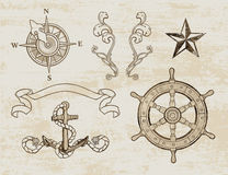 Nautical Design Set. A set of isolated Nautical-themed design elements for mixing and matching Royalty Free Stock Images