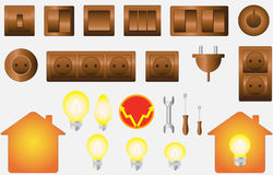 Set isolated objects of electrical equipment. Set colorful isolated objects of electrical equipment Stock Image