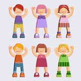 Joyful picture for decorating children`s parties. Set of isolated objects on white background. joyful children in summer clothes. Happy girls and boys Royalty Free Stock Photography