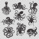 Set of isolated octopus mascot or tattoo Royalty Free Stock Photos