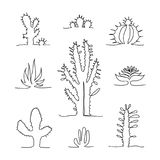 Set of isolated one line drawing cactus. stock illustration