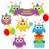 Set of isolated owl birthday Stock Image