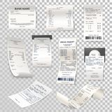 Realistic paper checks or payment bill on transparent. Set of isolated paper checks on transparent. Printed cash dispenser payment bill or supermarket, shop Royalty Free Stock Photos