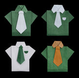 Set of isolated paper made shirts. Stock Photo