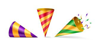 Set of isolated party hat or cone birthday hat. Set of isolated party hat or cone hat with confetti. 3d or realistic conical costume accessory with ribbon for vector illustration