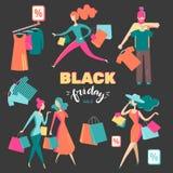 Set of isolated people on shopping. Isometric flat graphics. Com stock illustration
