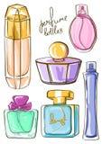 Set of isolated perfume bottles icons Stock Photo