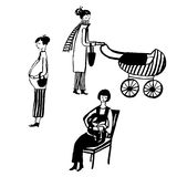 Set of isolated picture a pregnant woman, a woman with a child in a wheelchair and with a baby, hand drawn  illustrat. Set of isolated picture a pregnant woman Stock Image
