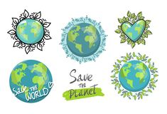 Set of isolated planets for earth day concept. planet with eco leaves. Ecology green energy. Save the Planet. hand drawing vector illustration