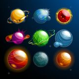 Set of isolated planets or stars, globe. Cosmos. Set of isolated cosmos stars or planets with satellite or galaxy globe or sphere. Cartoon orbs with holes and vector illustration