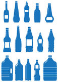 Set isolated plastic bottle and can Stock Photos