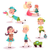 Set of isolated playing kids or children Stock Images