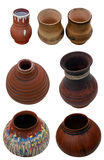 Set isolated pots pottery handmade in Ukrainian folk style Royalty Free Stock Images