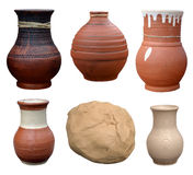 Set isolated pots pottery handmade in Ukrainian folk style and p Royalty Free Stock Photography