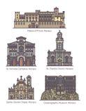 Set of isolated Principality of Monaco landmarks. Building of Princes Palace and Saint Nicholas cathedral, Saint Charles church, Saint Devota or Sainte Devote stock illustration