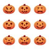 Set of isolated pumpkins on white background. Halloween pumpkins set isolated on white background. vector illustration for Halloween design, website, flier Stock Images