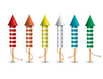 Set of isolated pyrotechnic rockets on white background. Vector illustration. Collection from 6 different color rockets Royalty Free Stock Images