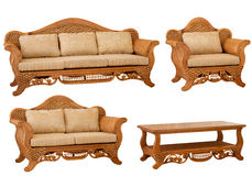 Set of isolated rattan furniture Royalty Free Stock Photo
