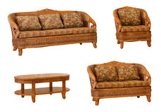 Set of isolated rattan furniture Stock Photography