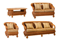 Set of isolated rattan furniture Royalty Free Stock Images