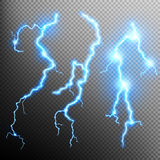 Set of isolated realistic lightnings. EPS 10 Stock Images