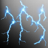 Set of the isolated realistic lightnings. EPS 10 Royalty Free Stock Photos