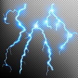 Set of isolated realistic lightnings. EPS 10 Royalty Free Stock Image