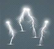 Set of the isolated realistic lightnings with transparency for design. Royalty Free Stock Image