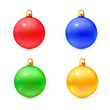 Set of isolated realistic vector chrismas balls Royalty Free Stock Photo