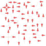 Set of isolated red arrows on white background. This collection is suitable for presentations and for other marketing products, can also be used as cursors and Stock Image
