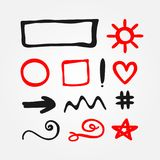 Set of isolated red and black doodle elements. Drawn by hand. Set of isolated red and black doodle elements. Outlines of round, square and rectangular frames Royalty Free Stock Photography