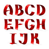 Set of isolated red color shiny ribbon font A-K Stock Photos