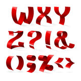 Set of isolated red color shiny ribbon font W-Z Stock Photo