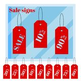 Set of isolated red iscount price labels tags on white background with cartoon flat shop window vector illustration