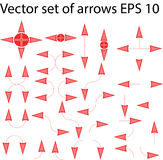 Set of isolated red and pink arrows. This collection is suitable for presentations and for other marketing products, can also be used as cursors and other design Stock Photography