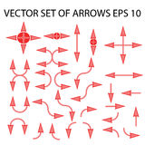 Set of isolated red and pink arrows vector illustration