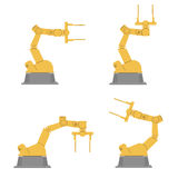 Set of isolated robotic hands. Assembly using robotic arms. Industrial technology and factory. royalty free illustration