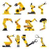 Robot manipulator or mechanical arm. Set of isolated robotic manipulator or mechanical hydraulic arm, welder for industrial line at plant or factory. Automation vector illustration