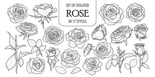 Set of isolated rose in 17 styles. Cute flower illustration in hand drawn style. Presented in black outline and white plane on white background royalty free illustration