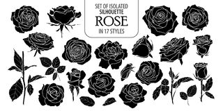 Set of isolated rose in 17 styles. Cute flower illustration in hand drawn style royalty free stock photo