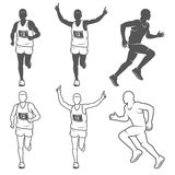 Set of isolated running man. Black and white outlined and filled vector illustrations Stock Photography
