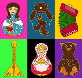 Set of isolated Russian icons. Set of stylized russian icons on a bright colorful background Royalty Free Stock Images