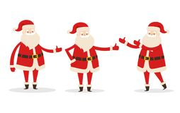 Set of Isolated Santa Clauses Showing Way. Statue. Set of isolated Santa Clauses showing the way. Statues of Father Frost pointing on right direction. Santa Stock Images
