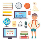 Set of isolated school items. Back to school cartoon icons. On white background Royalty Free Stock Photos