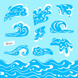 Set of isolated sea or ocean wave, splashes of water and seamless pattern marine stream. Tidal gale shape with foam. Stock Photography