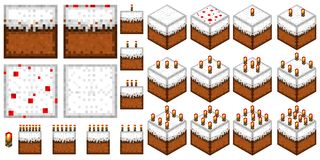 Set of isolated seamless textures and objects in the style of minecraft. Set the cakes in the style of minecraft 2D and 3D with a different number of candles vector illustration