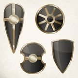 Set of isolated shields icons or heraldic sign Stock Images