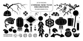 Set of isolated silhouette Chinese New Year decoration. Cute han. D drawn vector illustration in black plane and white outline on white background Stock Image