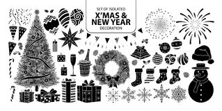 Set of isolated silhouette decoration for Christmas and New year. Vector illustration in white outline and black plane. Stock Photo