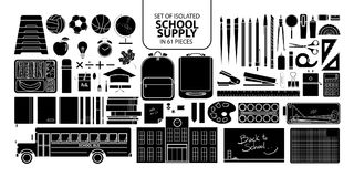 Set of isolated silhouette school supply. Set of isolated silhouette school supply in 61 pieces. Cute objects vector illustration in white outline and black Stock Photo